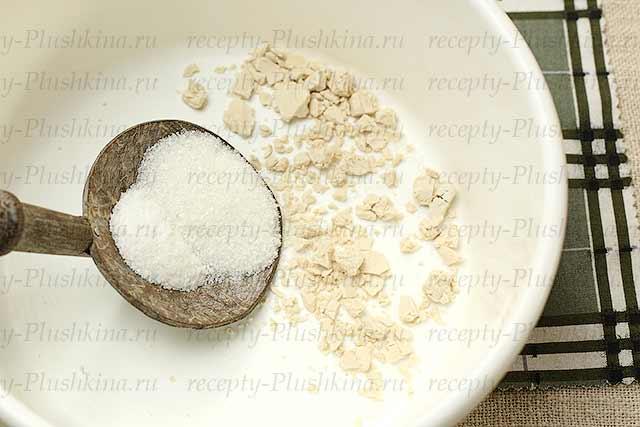 дрожжи, соль и сахар
