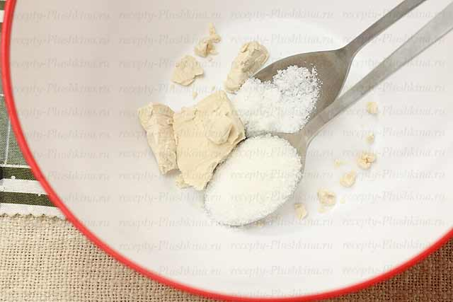 соль, сахар, дрожжи