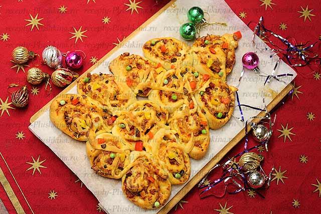 новогодняя пицца елочка