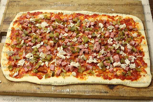добавил начинку для пиццы