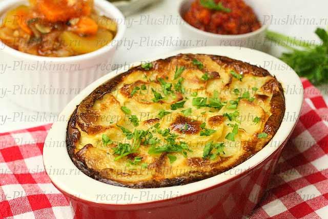 Запеканка с картофелем сырым с фаршем в духовке