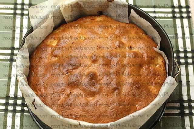яблочный пирог на сметане в форме