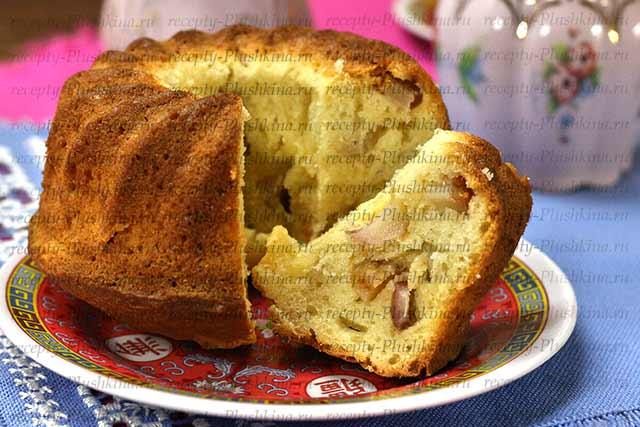 шарлотка с яблоками на кефире рецепт