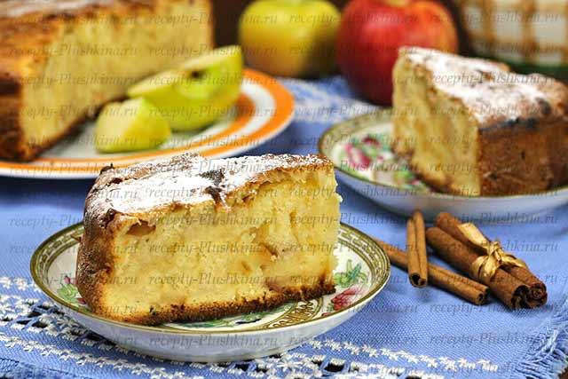 шарлотка с яблоками на кефире рецепт с фото