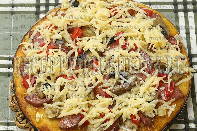 пицца на кефире без дрожжей в духовке