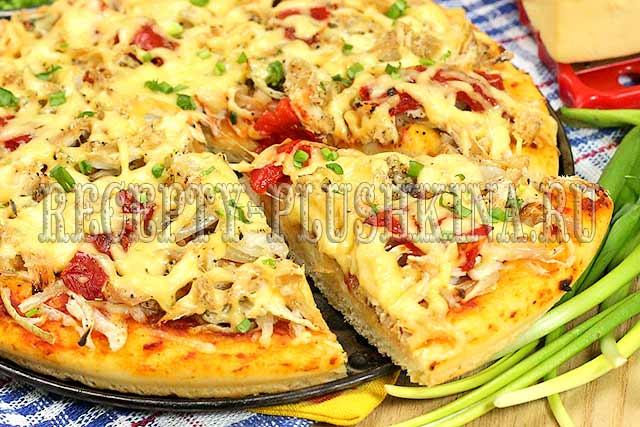 Пицца в домашних условиях в духовке с курицей рецепт в