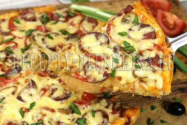 пицца домашняя рецепт с колбасой и сыром