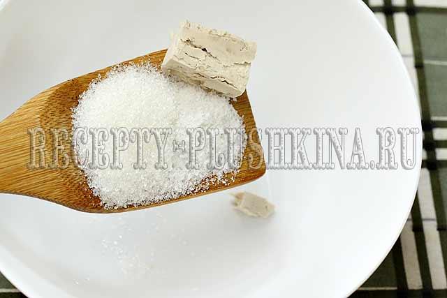 дрожжи, соль, сахар для опары