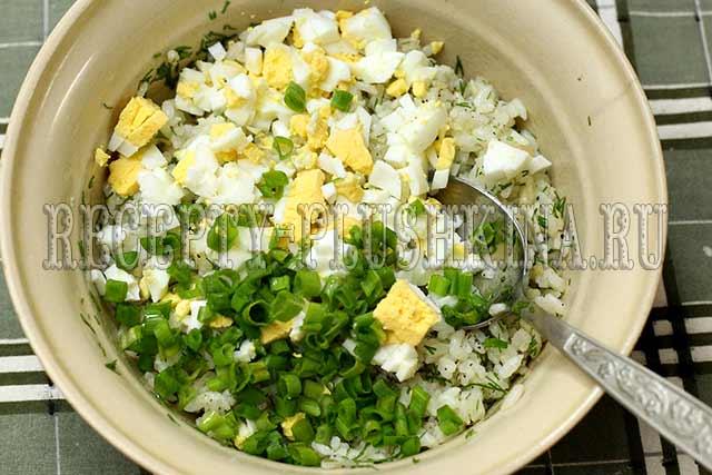 как сделать начинку для пирожков из риса и яиц