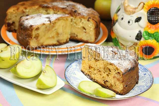рецепт шарлотки с яблоками и творогом
