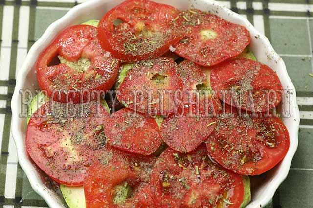 кабачки запеченные с помидорами рецепт с фото
