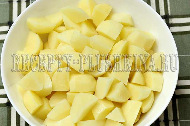 нарезали картофель кубиками