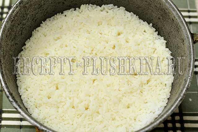 отварили рис до полуготовности