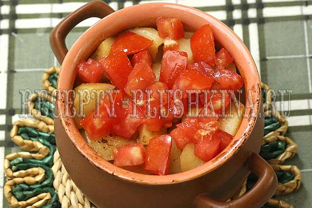 мясо с картошкой в горшочках с помидорами