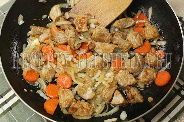 обжарили мясо и овощи