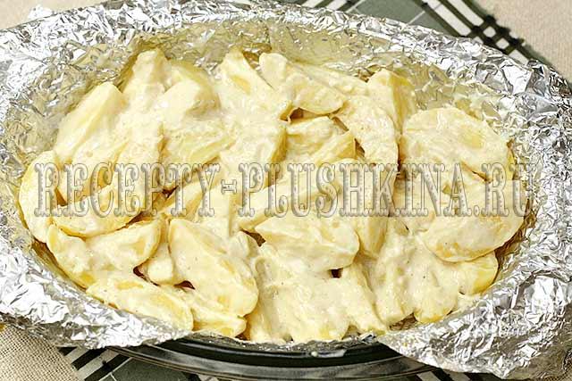 рецепт запеченной картошки с майонезом и чесноком