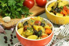 Овощное рагу с кабачками, баклажанами и картошкой