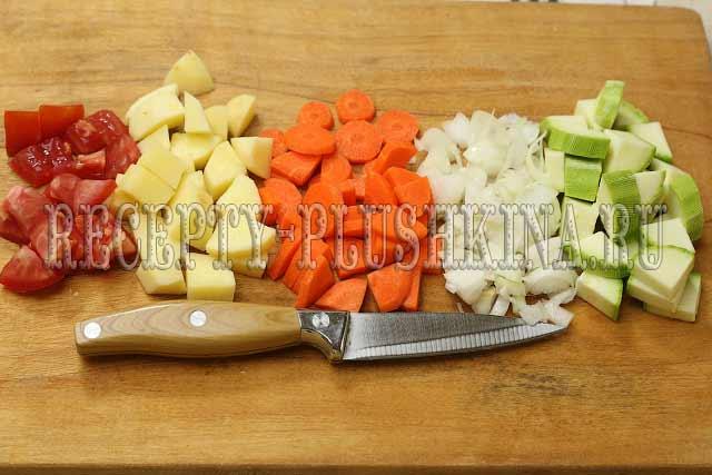 нарезка для овощного рагу