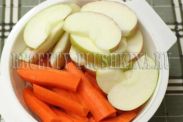 почистили морковь, яблоки