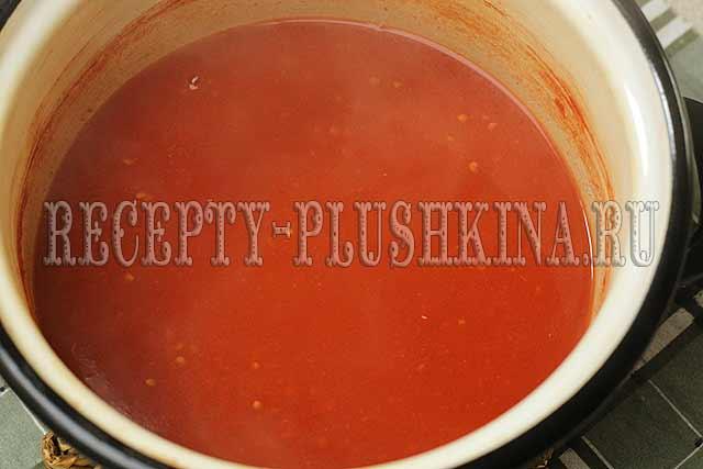 помидоры в томатном соке, рецепт на зиму