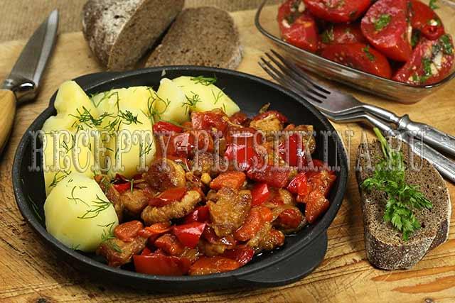 свинина с овощами на сковороде рецепт