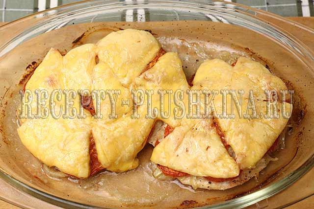рецепт куриного филе с сыром и помидорами в духовке