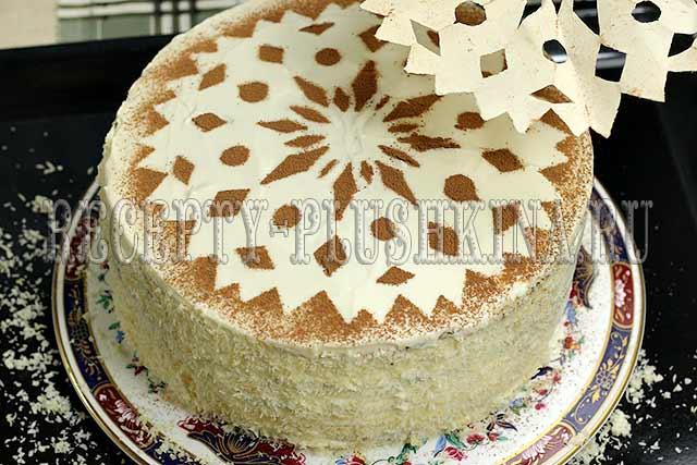 лучший новогодний торт снежинка