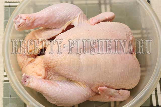 курица целиком в духовке приготовление