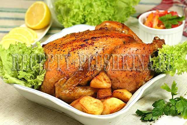 курица запеченная целиком в духовке с корочкой