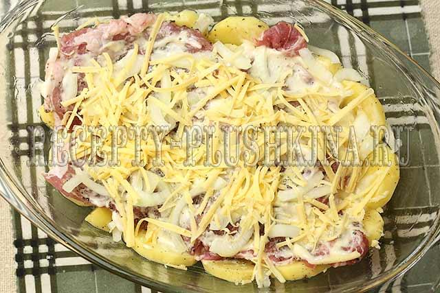 вкусное мясо по-французски с картошкой