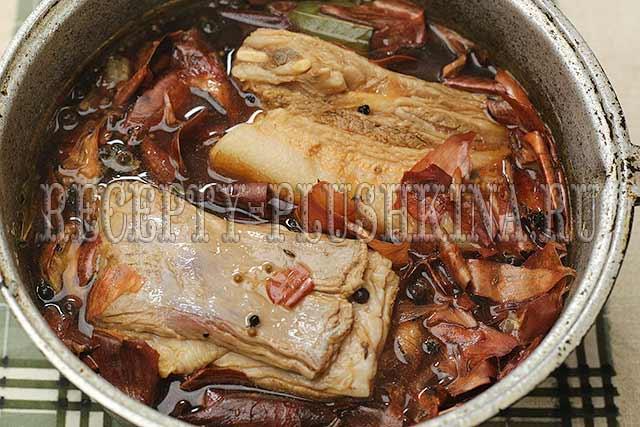сало в луковой шелухе рецепт с фото