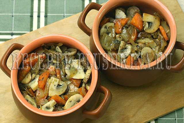 картошка с мясом и грибами в горшочке рецепт