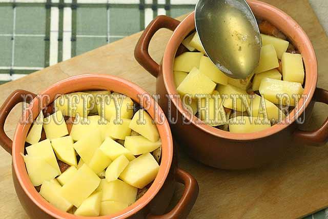 рецепт картофеля с мясом и грибами в горшочке