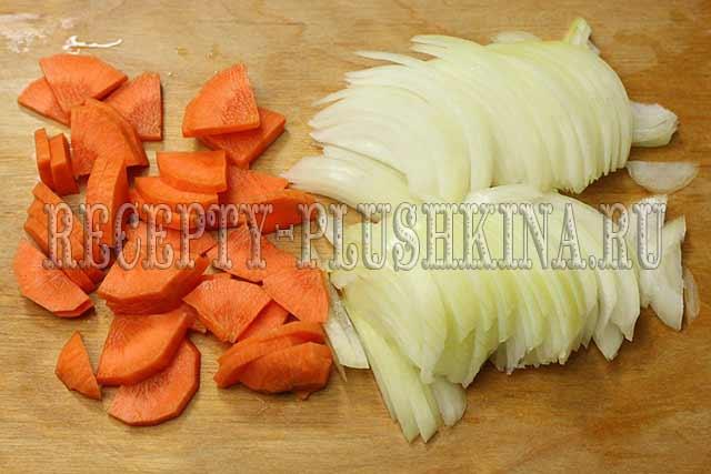 нарезали лук, морковь