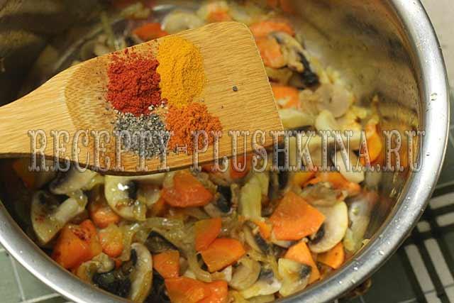 как приготовить картофель тушеный с грибами