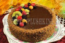 Постный шоколадный торт с банановым кремом