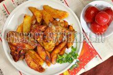 Куриные крылышки, запеченные с картошкой в духовке