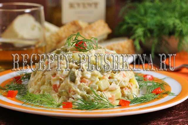 салат оливье с курицей классический рецепт