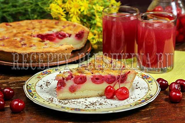 пирог с вишней и заливкой из сметаны