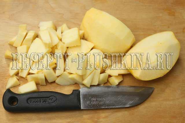 нарезали кусочками яблоки