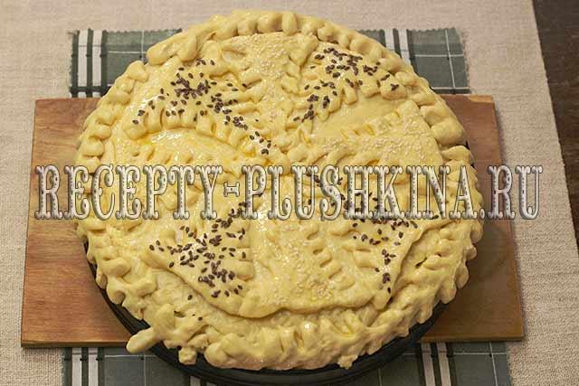 дрожжевой пирог с капустой и яйцом