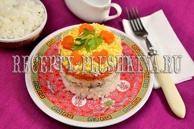 салат из сайры с рисом
