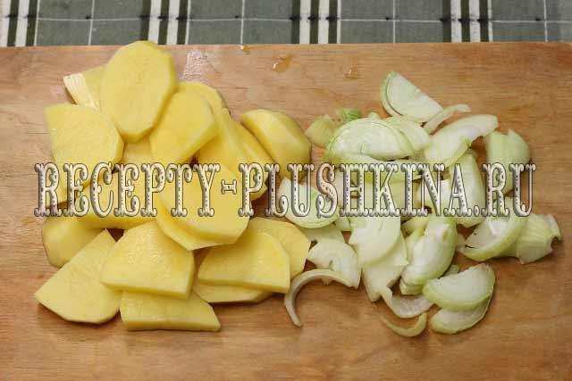нарезали картофель, лук